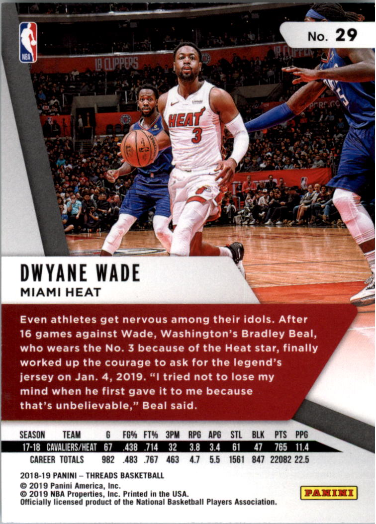 #98 Dwyane wade 2016-17 Panini Threads baloncesto Walker