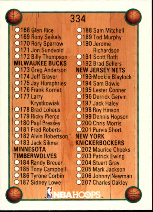 thumbnail 181 - 1990-91 Hoops Basketball Card Pick 244-440