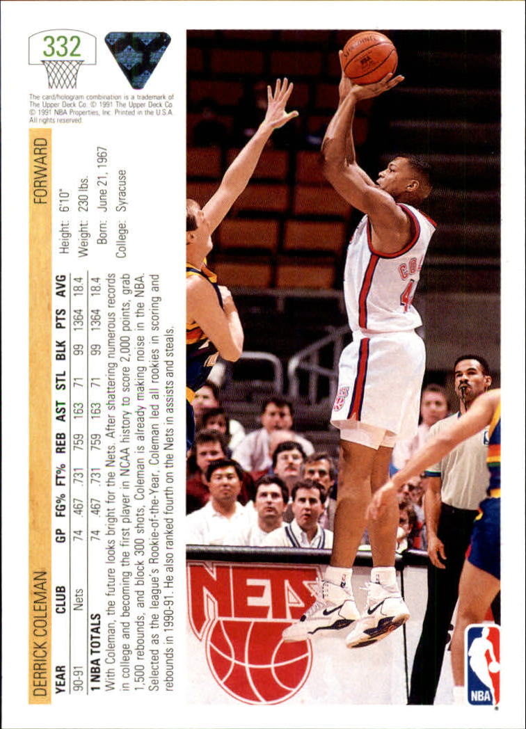 thumbnail 165 - 1991-92 Upper Deck Bk Cards 251-500 +Rookies A2500 - You Pick - 10+ FREE SHIP