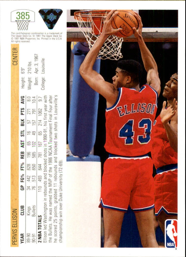 thumbnail 271 - 1991-92 Upper Deck Bk Cards 251-500 +Rookies A2500 - You Pick - 10+ FREE SHIP