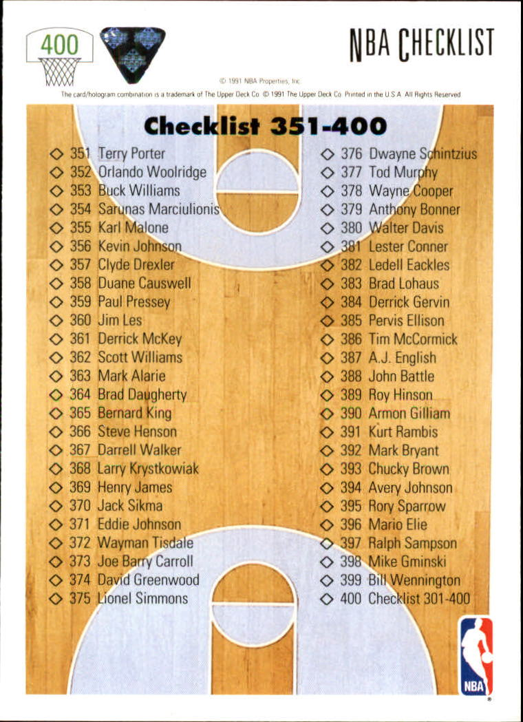 thumbnail 301 - 1991-92 Upper Deck Bk Cards 251-500 +Rookies A2500 - You Pick - 10+ FREE SHIP