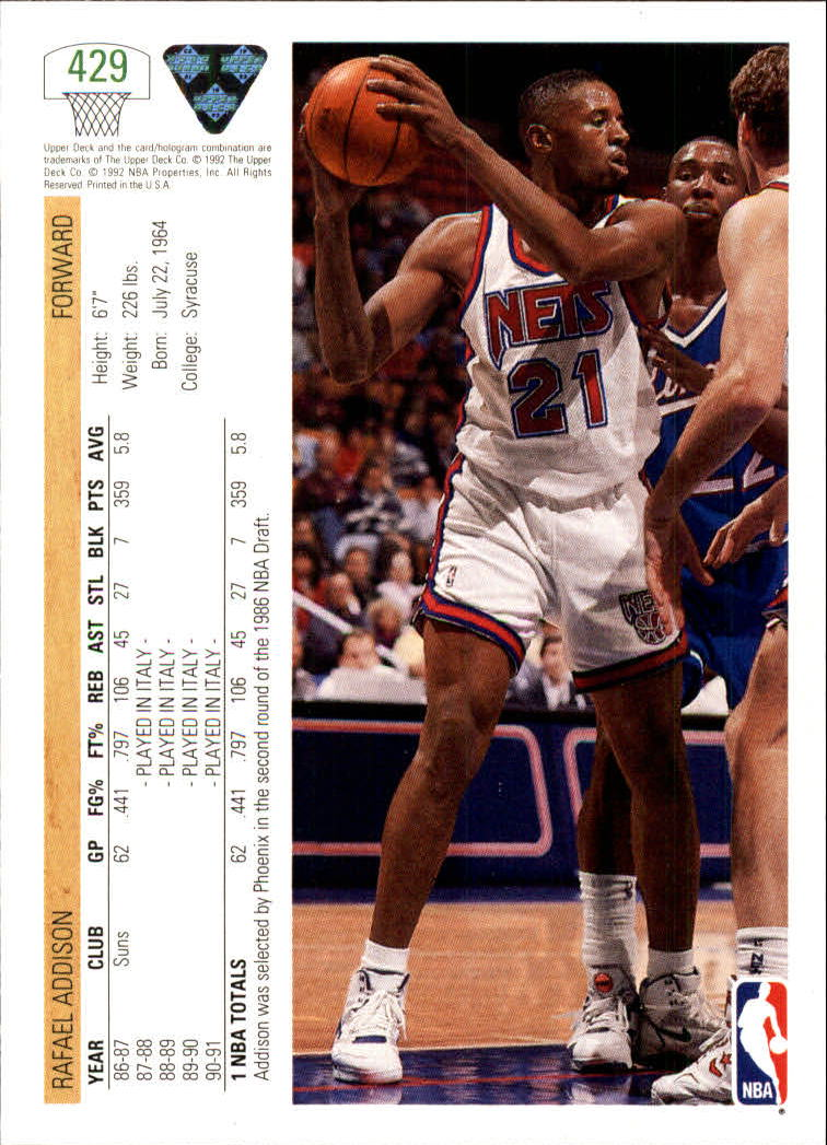 thumbnail 343 - 1991-92 Upper Deck Bk Cards 251-500 +Rookies A2500 - You Pick - 10+ FREE SHIP