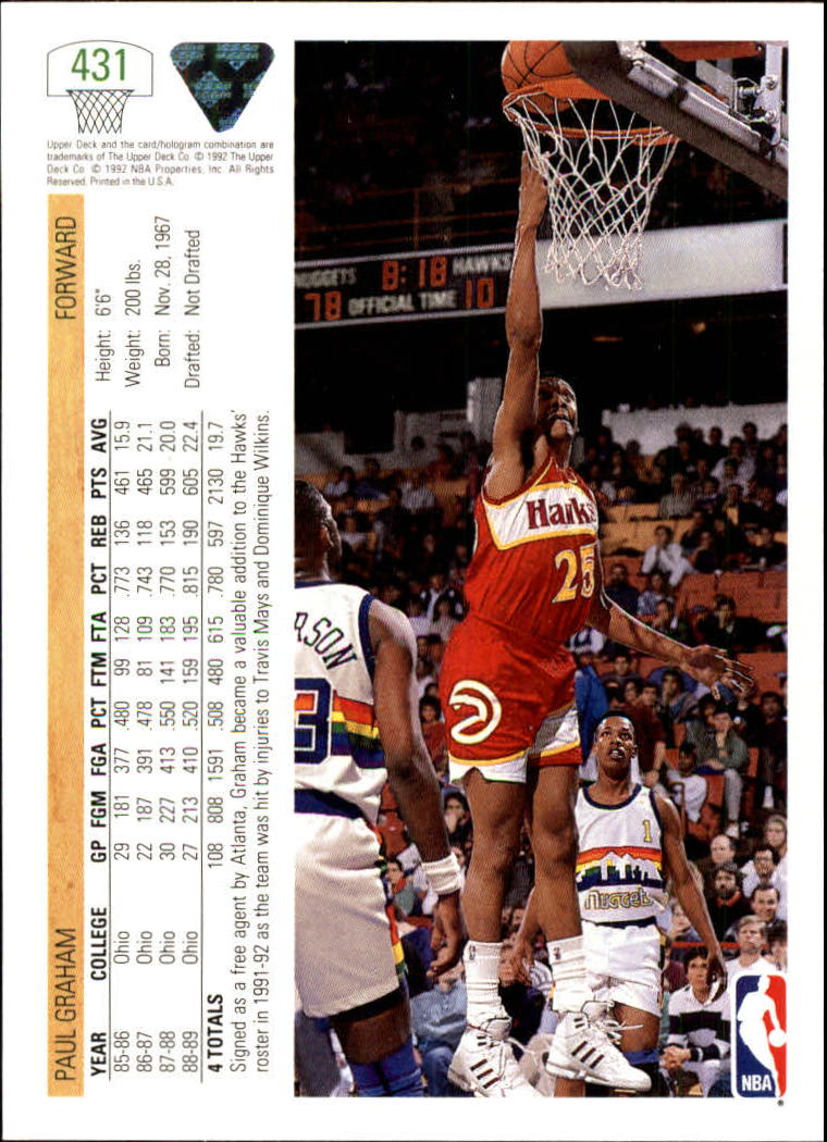thumbnail 347 - 1991-92 Upper Deck Bk Cards 251-500 +Rookies A2500 - You Pick - 10+ FREE SHIP
