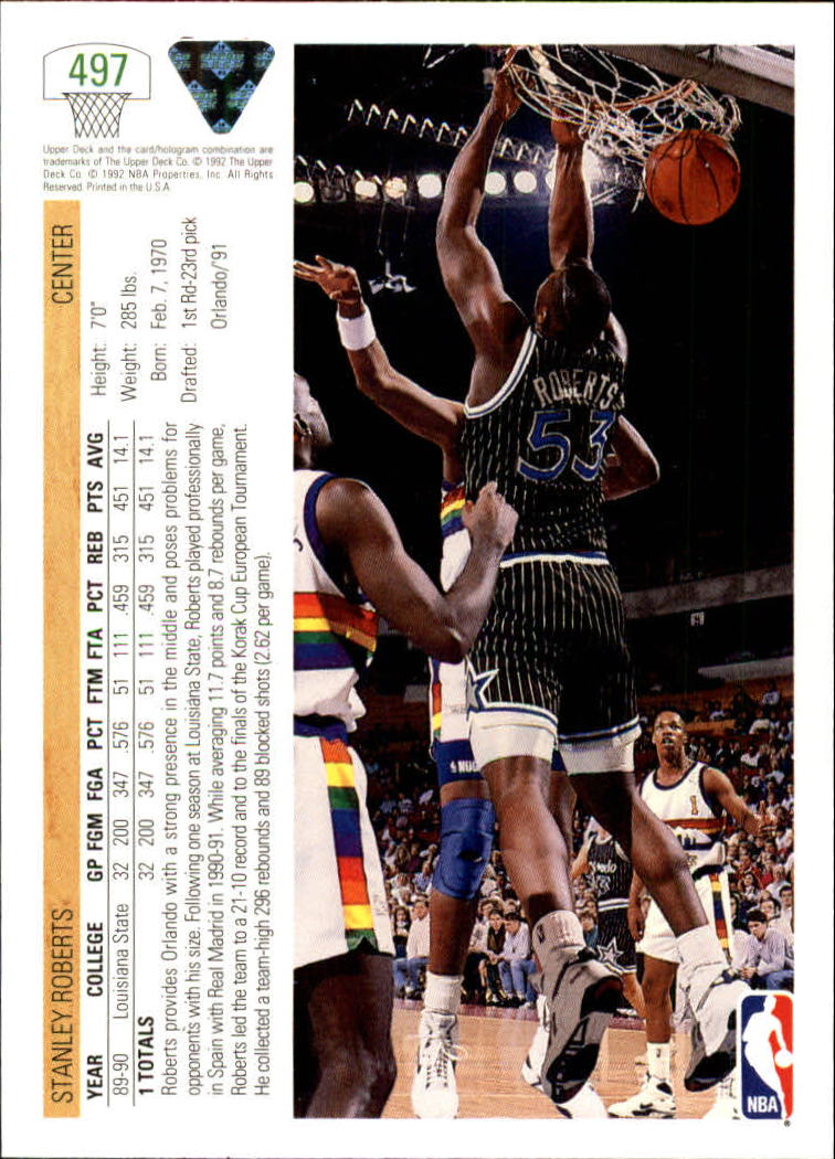 thumbnail 463 - 1991-92 Upper Deck Bk Cards 251-500 +Rookies A2500 - You Pick - 10+ FREE SHIP