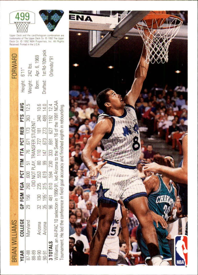 thumbnail 467 - 1991-92 Upper Deck Bk Cards 251-500 +Rookies A2500 - You Pick - 10+ FREE SHIP