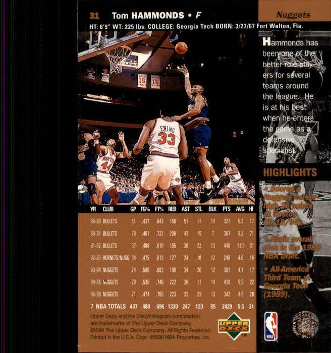 1996-97 Upper Deck Bk Cards 1-250 +Rookies (A2504)