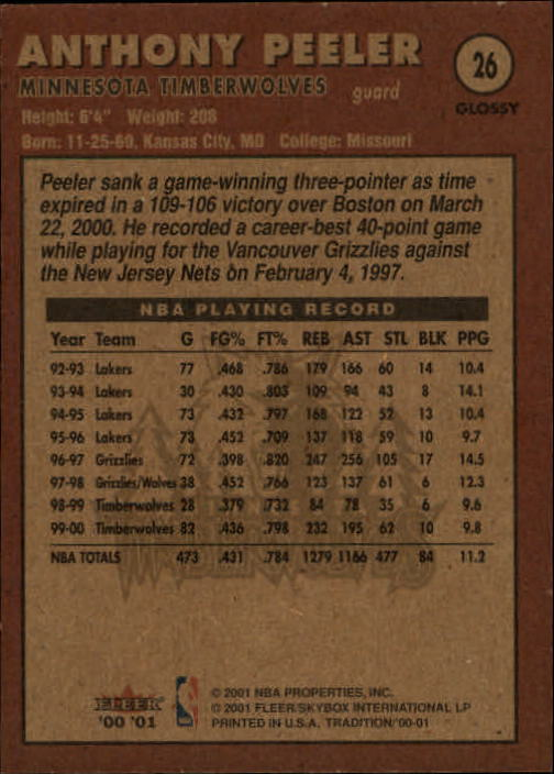 2000-01-Fleer-Glossy-Bk-Cards-1-251-Rookies-A2051-You-Pick-10-FREE-SHIP