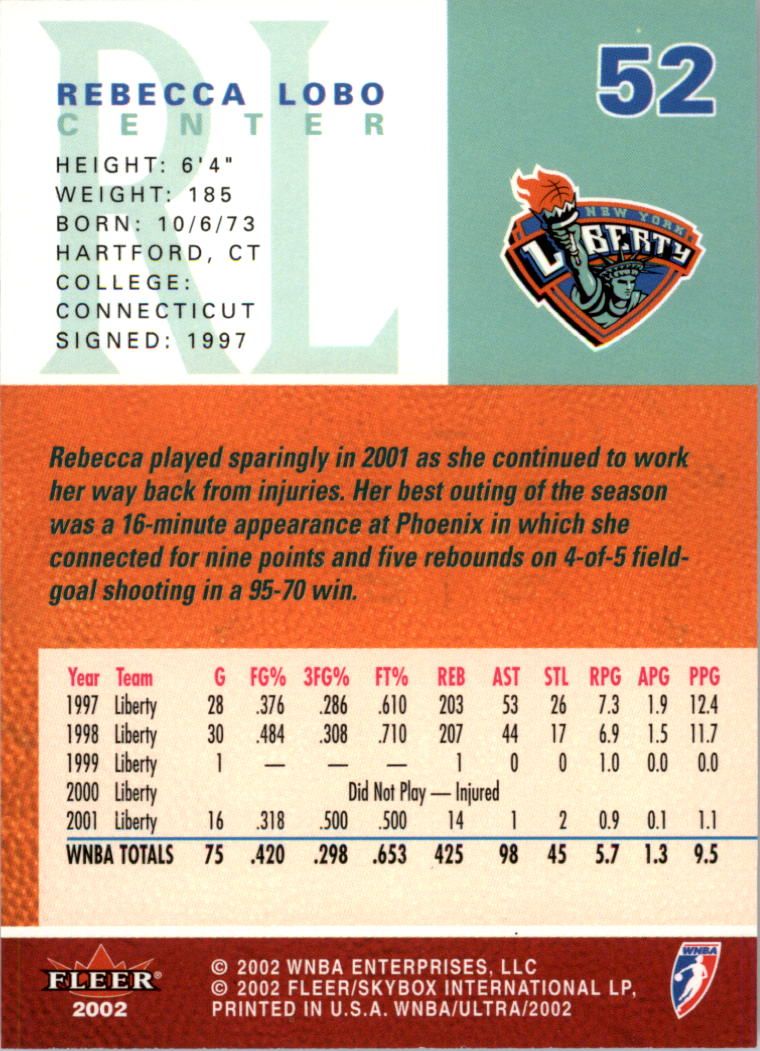 2002-Ultra-Wnba-Basketball-Carte-Choisissez miniature 105