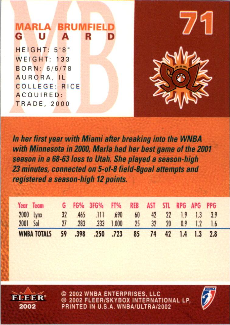 2002-Ultra-Wnba-Basketball-Carte-Choisissez miniature 141