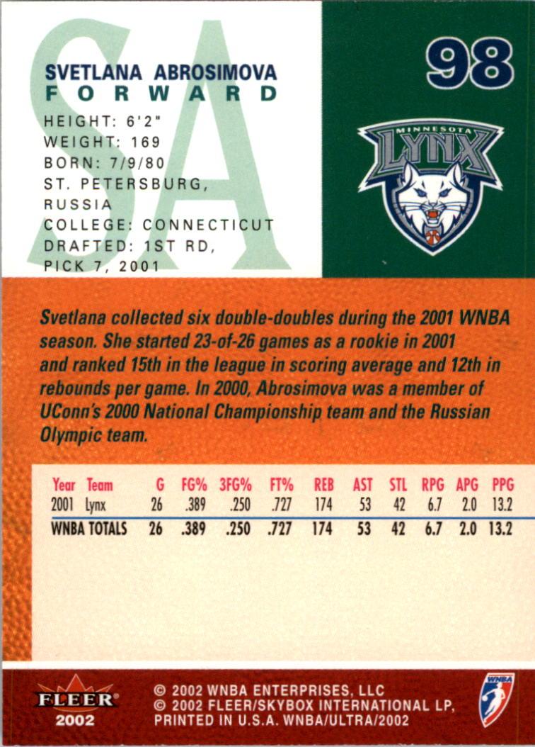 2002-Ultra-Wnba-Basketball-Carte-Choisissez miniature 197