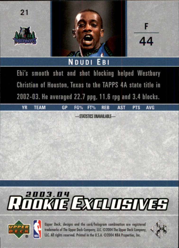 2003-04-Upper-Deck-Rookie-Exclusives-Basketball-Card-Pick thumbnail 38