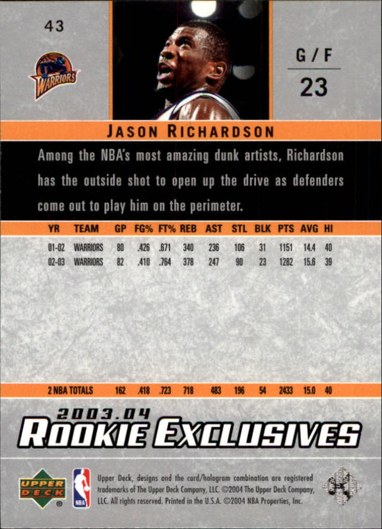 2003-04-Upper-Deck-Rookie-Exclusives-Basketball-Card-Pick thumbnail 78