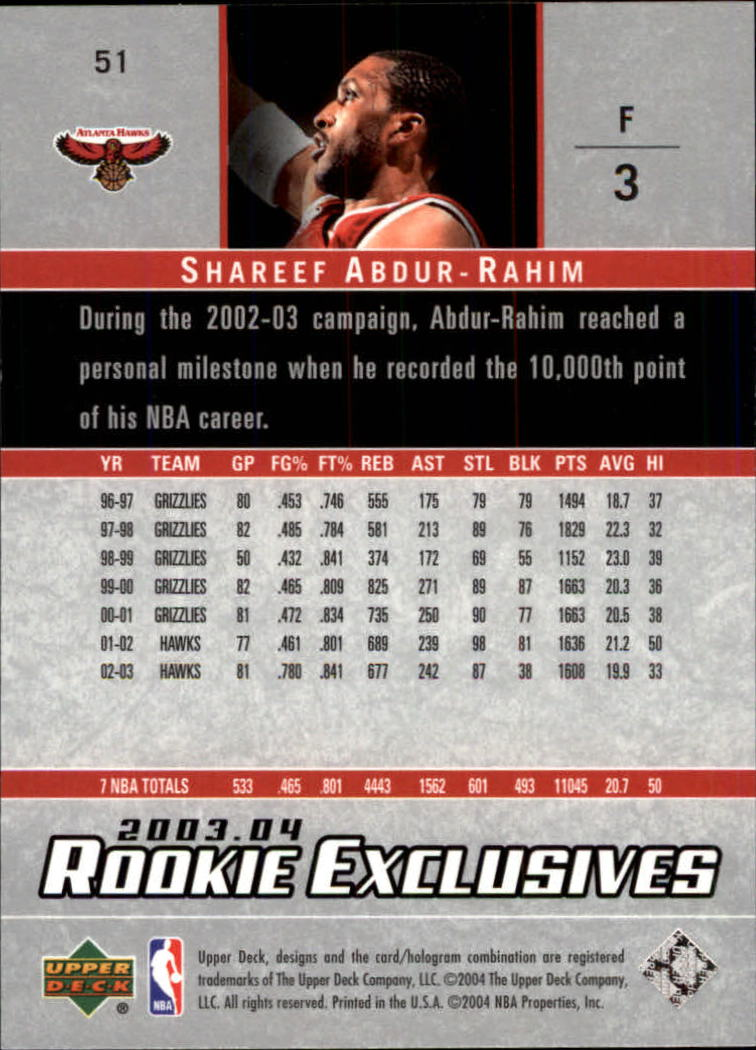 2003-04-Upper-Deck-Rookie-Exclusives-Basketball-Card-Pick thumbnail 94