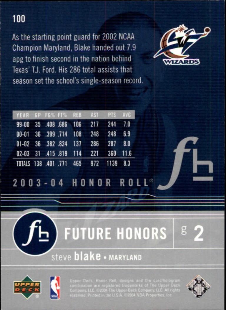 Details about 2003/2004 Honor Roll (Upper Deck) Basketball