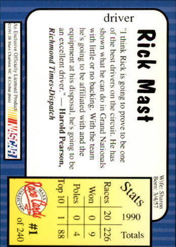 1991-Maxx-Auto-Racing-Cards-1-240-Rookies-A2705-You-Pick-10-FREE-SHIP thumbnail 3