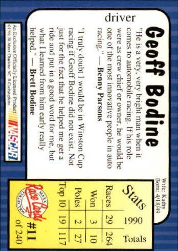 1991-Maxx-Auto-Racing-Cards-1-240-Rookies-A2705-You-Pick-10-FREE-SHIP thumbnail 23