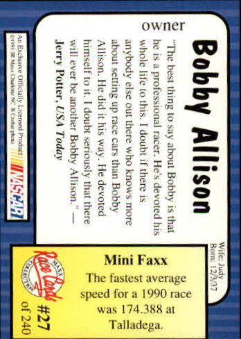 1991-Maxx-Auto-Racing-Cards-1-240-Rookies-A2705-You-Pick-10-FREE-SHIP thumbnail 55