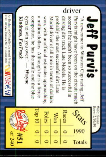 1991-Maxx-Auto-Racing-Cards-1-240-Rookies-A2705-You-Pick-10-FREE-SHIP thumbnail 103