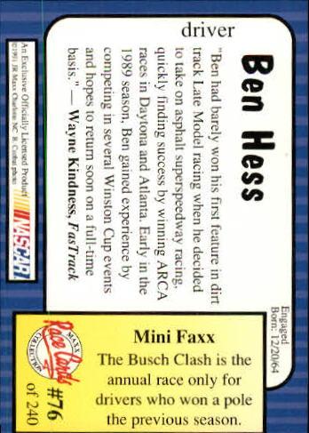 1991-Maxx-Auto-Racing-Cards-1-240-Rookies-A2705-You-Pick-10-FREE-SHIP thumbnail 153