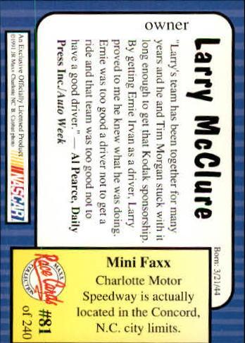 1991-Maxx-Auto-Racing-Cards-1-240-Rookies-A2705-You-Pick-10-FREE-SHIP thumbnail 163