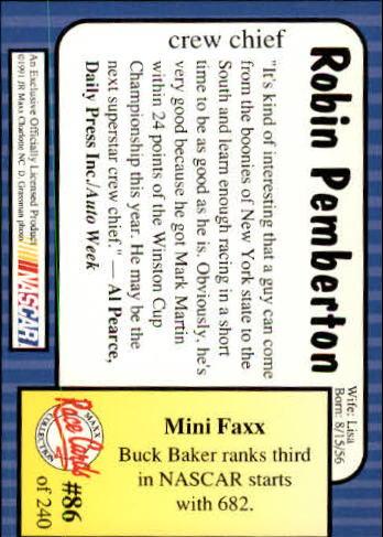 1991-Maxx-Auto-Racing-Cards-1-240-Rookies-A2705-You-Pick-10-FREE-SHIP thumbnail 173