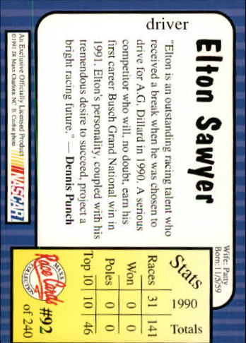 1991-Maxx-Auto-Racing-Cards-1-240-Rookies-A2705-You-Pick-10-FREE-SHIP thumbnail 185