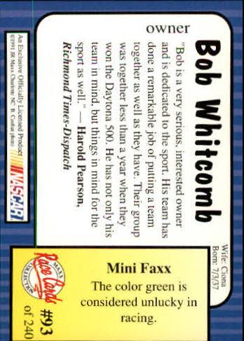 1991-Maxx-Auto-Racing-Cards-1-240-Rookies-A2705-You-Pick-10-FREE-SHIP thumbnail 187
