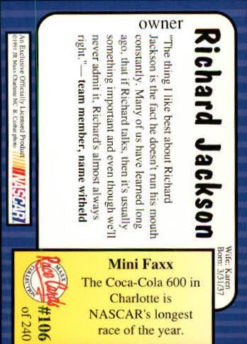 1991-Maxx-Auto-Racing-Cards-1-240-Rookies-A2705-You-Pick-10-FREE-SHIP thumbnail 213