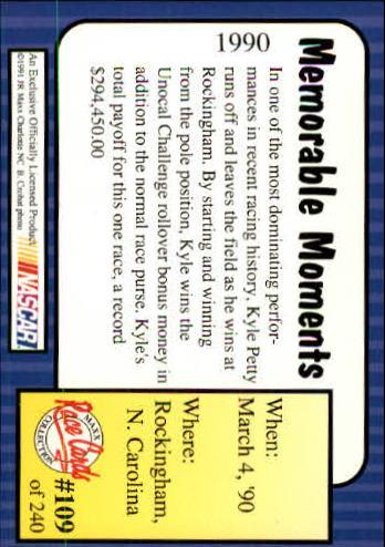 1991-Maxx-Auto-Racing-Cards-1-240-Rookies-A2705-You-Pick-10-FREE-SHIP thumbnail 219