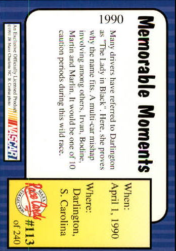 1991-Maxx-Auto-Racing-Cards-1-240-Rookies-A2705-You-Pick-10-FREE-SHIP thumbnail 227