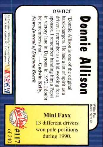 1991-Maxx-Auto-Racing-Cards-1-240-Rookies-A2705-You-Pick-10-FREE-SHIP thumbnail 235