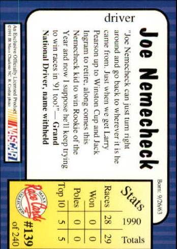 1991-Maxx-Auto-Racing-Cards-1-240-Rookies-A2705-You-Pick-10-FREE-SHIP thumbnail 278