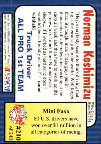 1991-Maxx-Auto-Racing-Cards-1-240-Rookies-A2705-You-Pick-10-FREE-SHIP thumbnail 420