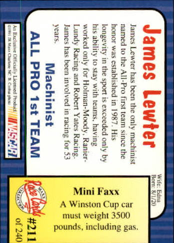 1991-Maxx-Auto-Racing-Cards-1-240-Rookies-A2705-You-Pick-10-FREE-SHIP thumbnail 422