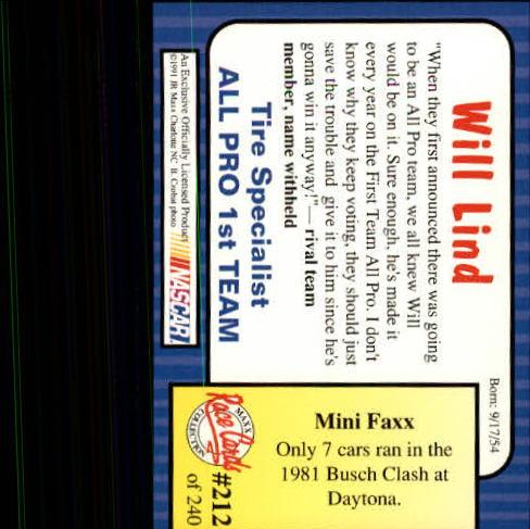 1991-Maxx-Auto-Racing-Cards-1-240-Rookies-A2705-You-Pick-10-FREE-SHIP thumbnail 424