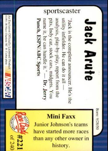 1991-Maxx-Auto-Racing-Cards-1-240-Rookies-A2705-You-Pick-10-FREE-SHIP thumbnail 442