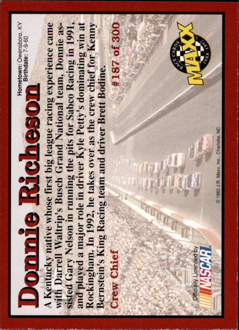 1992-Maxx-Red-Racing-Cards-151-300-Rookies-A2711-You-Pick-10-FREE-SHIP thumbnail 75