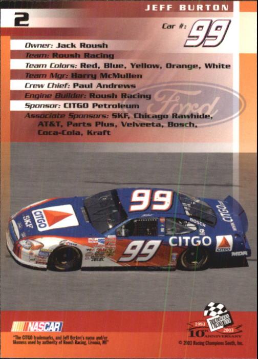 2003-Press-Pass-Trackside-Racing-Card-Pick thumbnail 5