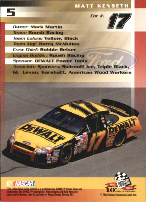 2003-Press-Pass-Trackside-Racing-Card-Pick thumbnail 11