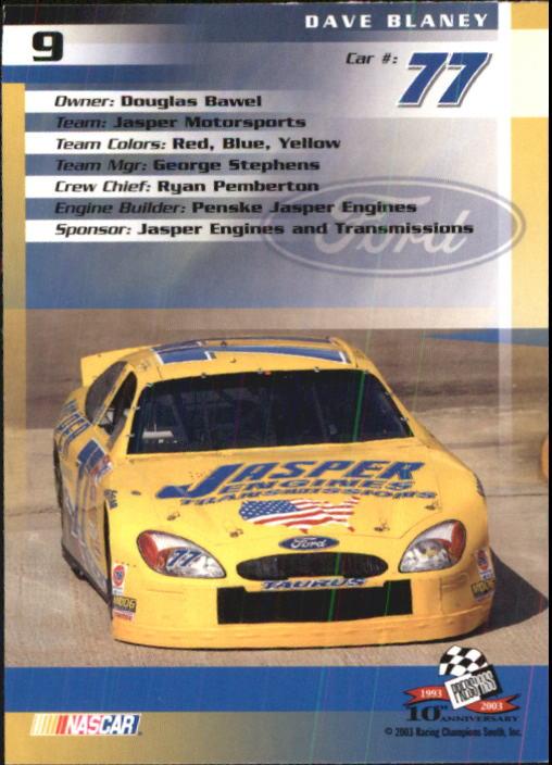 2003-Press-Pass-Trackside-Racing-Card-Pick thumbnail 19