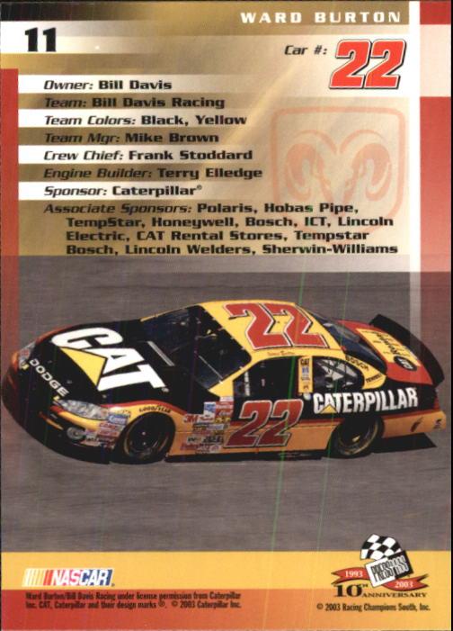 2003-Press-Pass-Trackside-Racing-Card-Pick thumbnail 23
