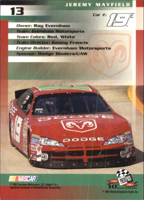 2003-Press-Pass-Trackside-Racing-Card-Pick thumbnail 27