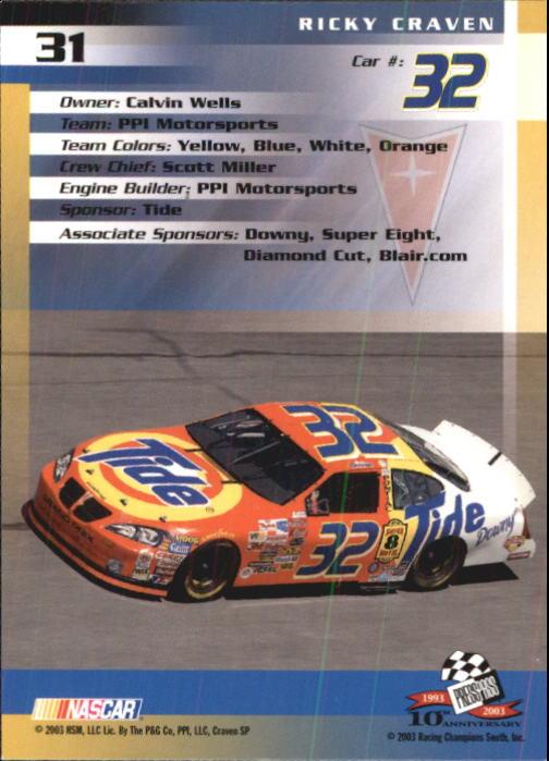 2003-Press-Pass-Trackside-Racing-Card-Pick thumbnail 63