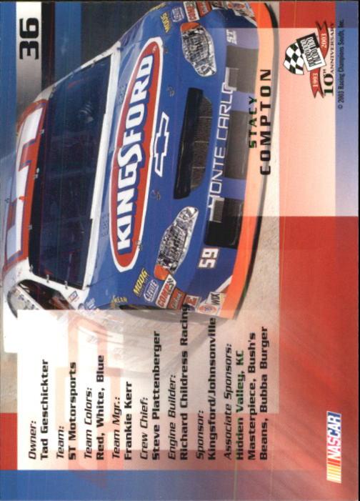 2003-Press-Pass-Trackside-Racing-Card-Pick thumbnail 73