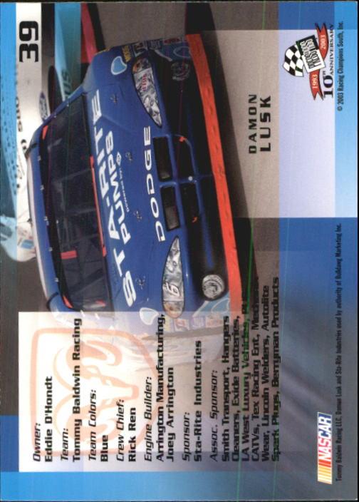 2003-Press-Pass-Trackside-Racing-Card-Pick thumbnail 79