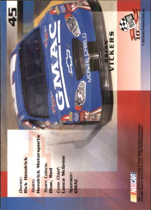 2003-Press-Pass-Trackside-Racing-Card-Pick thumbnail 91