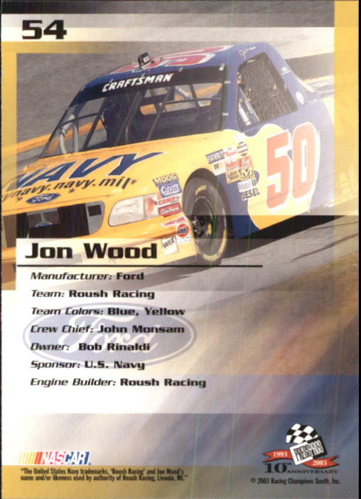 2003-Press-Pass-Trackside-Racing-Card-Pick thumbnail 109