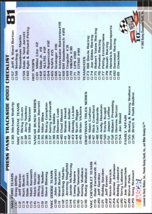2003-Press-Pass-Trackside-Racing-Card-Pick thumbnail 163