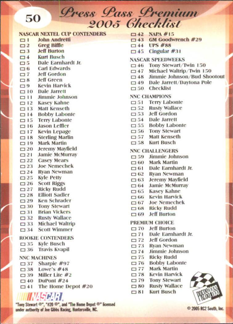 2005-Press-Pass-Premium-Race-Card-s-1-81-A3477-You-Pick-10-FREE-SHIP thumbnail 83