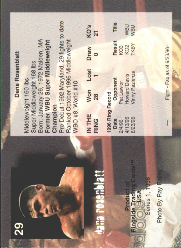 Details about 1996 Ringside Boxing Card #s 1-55 +Inserts (A2697) - You Pick  - 10+ FREE SHIP